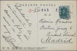 Tarjeta postal de Jesús Guridi a Federico Romero, con una felicitación navideña.