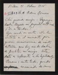 """Carta de Jesús Guridi a Federico Romero, hablando de números y detalles de su trabajo para """"El caserío""""."""