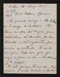 """Carta de Jesús Guridi a Federico Romero, comentando que hay varios empresarios y escenógrafos interesados en """"El caserío""""."""