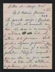 """Carta de Jesús Guridi a Federico Romero, acusando recibo del segundo acto de """"El caserío"""" y mandando monstruos de algunos números."""