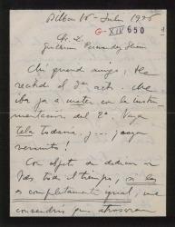 Carta de Jesús Guridi a Guillermo Fernández-Shaw, acusando recibo del tercer acto y pidiendo que aplacen el viaje por tener esas fechas muy ocupadas con la Coral.
