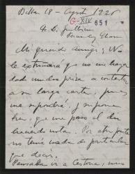 Carta de Jesús Guridi a Guillermo Fernández-Shaw, hablando del avance de sus trabajos en la obra en que colaboran.
