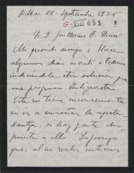 Carta de Jesús Guridi a Guillermo Fernández-Shaw, comentando el principio de la temporada teatral y preguntando si se sabe fecha aproximada para el estreno de su obra en colaboración.