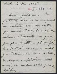 """Carta de Jesús Guridi a Guillermo Fernández-Shaw, felicitándole el año a él y a Federico Romero, contentísimo con el éxito de """"El caserío"""" en Valladolid y Zaragoza."""