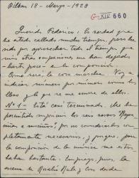 """Carta de Jesús Guridi a Federico Romero, hablándole de unos números musicales de """"La meiga""""."""