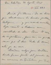 """Carta de Jesús Guridi a Guillermo Fernández-Shaw, diciéndole que va a pedir tres meses de cese en el Conservatorio para poder dedicarse a la instrumentación de """"La meiga""""."""