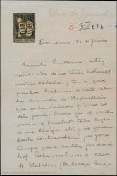 Carta de Eduardo Granados a Guillermo Fernández-Shaw, extrañado por no tener noticias suyas, diciéndole que no tiene nada hecho y que espera que una temporada en el campo le dé ánimo para avanzar y recuperarse de su tristeza.
