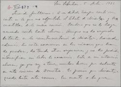 """Carta de Jesús Guridi a Guillermo Fernández-Shaw, hablándole del libreto de """"Mirentxu"""", la nueva obra."""