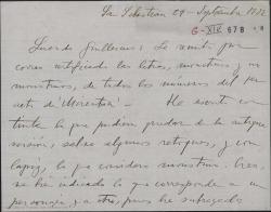 """Carta de Jesús Guridi a Guillermo Fernández-Shaw, remitiéndole las letras, los monstruos y no monstruos del primer acto de """"Mirentxu"""", marcando y retocando lo que pudiera quedar de la antigua versión."""