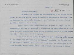 Carta del Marqués de Valdeiglesias a Guillermo Fernández-Shaw, dando las gracias por el envio de los originales y copias de unas cartas de Zorrilla y recordando la amistad que le unía a Carlos Fernández Shaw.