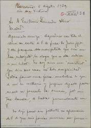 """Carta de Miquel Saperas a Guillermo Fernández-Shaw, diciéndole que ya ha dado el original de """"Piedad"""" a la imprenta, haciéndole unas consideraciones por si cree que vale la pena tenerlas en cuenta."""