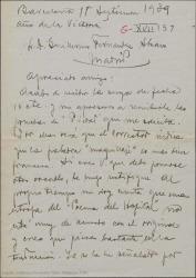 """Carta de Miquel Saperas a Guillermo Fernández-Shaw, mandándole las pruebas de """"Piedad"""" que solicita, pidiéndole a su vez el prólogo para su impresor."""