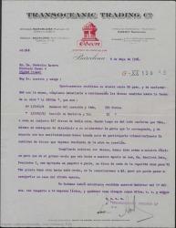 """Carta de Transoceanic Trading Co., fábrica de la discográfica Odeón, a Federico Romero, dándole cuenta de los discos vendidos de """"La Severa""""."""