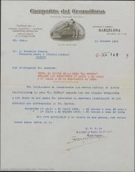 """Carta de Compañía del Gramófono a Federico Romero, comunicándole la liquidación de los derechos que corresponden a Julio Dantas por los discos vendidos de """"La Severa"""" durante el segundo y tercer trimestre del año."""