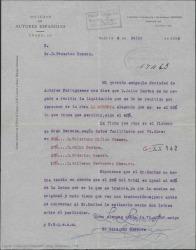 """Carta del Director Gerente de la Sociedad de Autores Españoles a Federico Romero, diciéndole que Julio Dantas se ha negado a recibir la liquidación de la """"Morería"""" por no estar de acuerdo con el porcentaje. Pide confirmación de las condiciones antes de ponerse en contacto con él."""