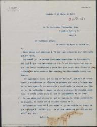 Carta de Juan Figuera a Guillermo Fernández-Shaw, invitándole a que vaya a verle con el señor Miguel Chapí para enseñarles las cuentas de una película y hablar de la liquidación de las mismas.