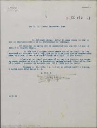 Carta de Juan Figuera a Guillermo Fernández-Shaw, invitándole a que vaya a verle con el señor Miguel Chapí para hablar de las cuentas de una película, enseñarles el contrato que él firmó y aclarar un tema de porcentajes.