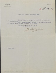 Carta de Juan Figuera a Guillermo Fernández-Shaw, confirmando su cita para el próximo domingo con el señor Miguel Chapí.