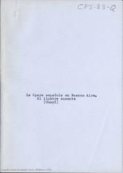 La ópera española en Buenos Aires : el ilustre ausente (Chapí) / Carlos Fernández Shaw.