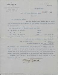 """Carta de Juan Figuera a Guillermo Fernández-Shaw, remitiéndole una cantidad por derechos de la película """"La Revoltosa"""" para que él reparta el dinero con los herederos de los otros dos autores."""