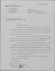 """Carta de la compañía Ibérica Films a Federico Romero y Guillermo Fernández-Shaw, expresando su deseo de rodar la pélicula """"Doña Francisquita"""" e invitándoles a visitar los estudios."""