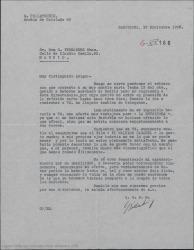 """Carta de Geza Pollatschik a Guillermo Fernández-Shaw, diciéndole que le es imposible mejorar su oferta para el rodaje de """"La Revoltosa""""."""