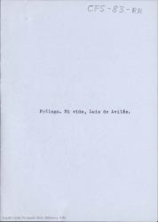 Mi vida : prólogo / Luis de Avilés (seudónimo de Carlos Fernández Shaw)