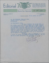 """Carta de Ramón Sala Verdaguer, director y propietario de la editorial """"Alas"""" a Guillermo Fernández-Shaw, celebrando haber llegado a un acuerdo para publicar novelado el argumento basado en la película de """"Luisa Fernanda""""."""