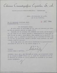 Carta de Alfredo López y Martínez, de Ediciones Cinematográficas Españolas, a Guillermo Fernández-Shaw, pidiéndole le facilite un contrato que obra en poder de Federico Moreno Torroba.
