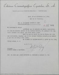 Carta de Alfredo López y Martínez, de Ediciones Cinematográficas Españolas, a Guillermo Fernández-Shaw, insistiendo en su petición de que le facilite un contrato que obra en poder de Federico Moreno Torroba.