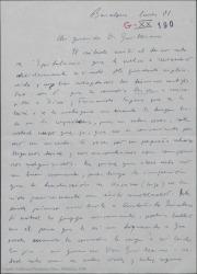 """Carta de Javier Regás a Guillermo Fernández-Shaw, diciéndole que ha recibido el tercer acto de """"Epitalamio"""" y dándole la enhorabuena por su magnífica traducción."""