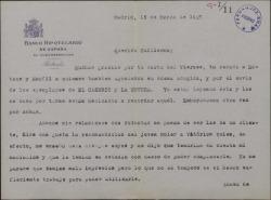 Carta de Félix de Llanos y Torriglia a Guillermo Fernández-Shaw, agradeciéndole el envío de unos ejemplares de sus obras.