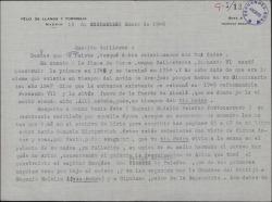 Cartas de Félix de Llanos y Torriglia a Guillermo Fernández-Shaw, enviándole unos datos históricos que éste le ha pedido en relación con D. Eugenio Palafox Portocarrero.