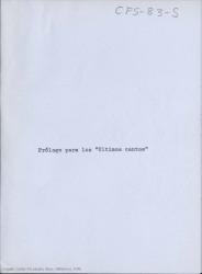 """Prólogo para """"Últimos Cantos"""" / Carlos Fernández Shaw."""
