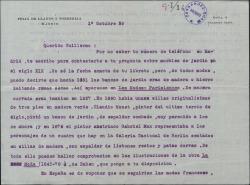 Carta de Félix de Llanos y Torriglia a Guillermo Fernández-Shaw, contestando a una consulta sobre muebles de jardín del siglo XIX.