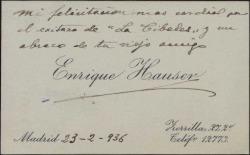"""Tarjeta de visita de Enrique Hauser felicitando a Guillermo Fernández-Shaw por el éxito de """"La Cibeles""""."""