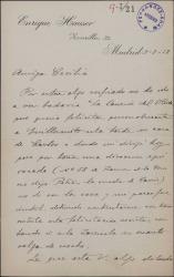 """Carta de Enrique Hauser a Cecilia Iturralde, madre de Guillermo Fernández-Shaw, encargándole que le felicite en su nombre por el estreno de """"La canción del olvido""""."""