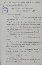 Carta de Enrique Hauser a Cecilia Iturralde, madre de Guillermo Fernández-Shaw, contestando a una carta suya y pidiéndole que felicite a su hijo por un nuevo éxito teatral.