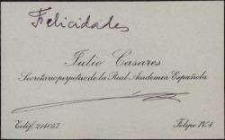Tarjeta de visita de Julio Casares deseando felicidades.