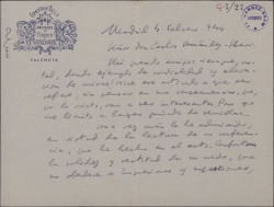 Carta de Federico García Sanchiz a Carlos Fernández-Shaw, comentando una conferencia de éste.