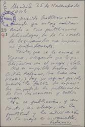 Carta de Federico García Sanchiz a Guillermo Fernández-Shaw, agradeciéndole un soneto de bienvenida.