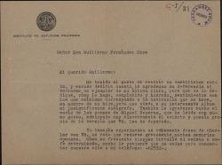Carta de Melchor Fernández Almagro a Guillermo Fernández-Shaw, agradeciéndole sus deferencias y concertando una cita.