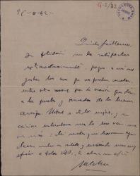 Carta de Melchor Fernández Almagro a Guillermo Fernández-Shaw, agradeciéndole una felicitación suya.