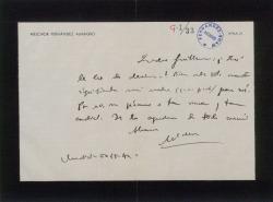 Carta de Melchor Fernández Almagro a Guillermo Fernández-Shaw, correspondiendo a su pésame por la muerte de su madre.