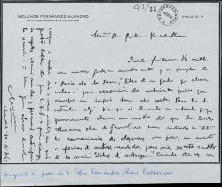 """Carta de Melchor Fernández Almagro a Guillermo Fernández-Shaw, diciéndole que ha recibido el libro que le envió y que hablará de él en su sección de """"ABC""""."""