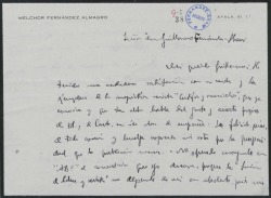 """Carta de Melchor Fernández Almagro a Guillermo Fernández-Shaw, elogiando la revista """"Cortijos y Rascacielos""""."""