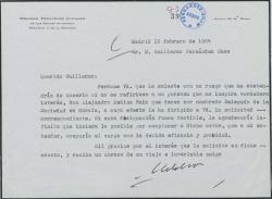Carta de Melchor Fernández Almagro a Guillermo Fernández-Shaw, pidiéndole apoye el nombramiento de cierto señor.
