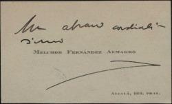 Tarjeta de visita de Melchor Fernández Almagro enviando un saludo cordial.