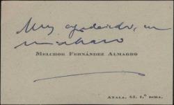 Tarjeta de visita de Melchor Fernández Almagro dando las gracias.