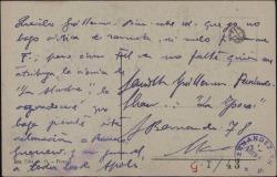 Tarjeta postal de Melchor Fernández Almagro a Guillermo Fernández-Shaw con una aclaración sobre cierta crónica publicada.